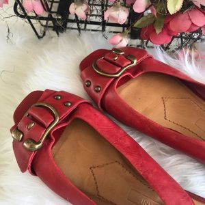 Antonio Melani Leather Flats Red SZ 8M
